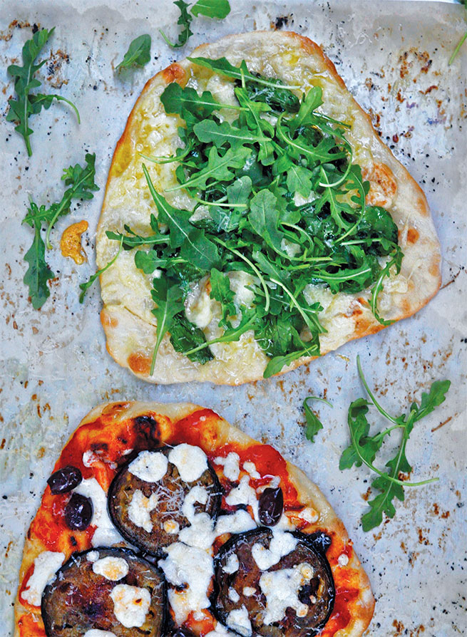 PIZZETTAS: EGGPLANT AND KALAMATA OLIVE, BABY SPINACH AND FONTINA ...